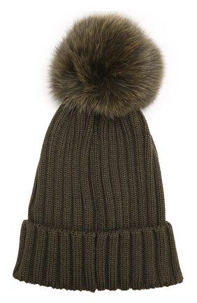 Шерстяная шапка фактурной вязки с меховым помпоном | Фото №2