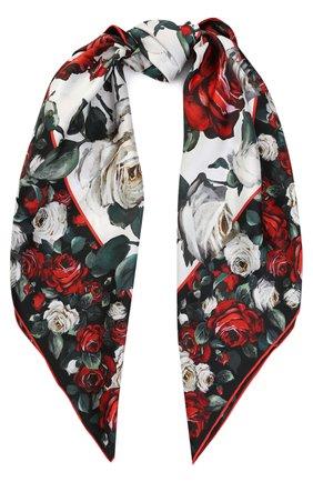 Шелковый платок с цветочным принтом Dolce & Gabbana разноцветный | Фото №1