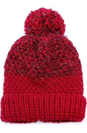 Шерстяная вязаная шапка с помпоном и отделкой металлизированной нитью   Фото №1