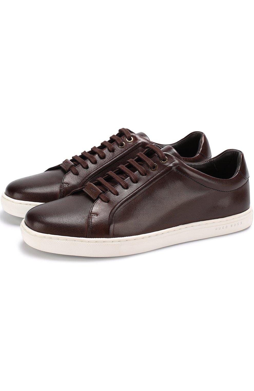 Мужские темно-коричневые кожаные кеды на шнуровке BOSS — купить за ... 92c8fbb4f8b5f