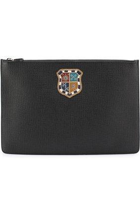 Кожаный футляр для документов с нашивкой Dolce & Gabbana черного цвета   Фото №1