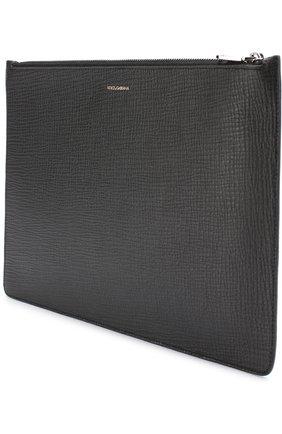Кожаный футляр для документов с нашивкой Dolce & Gabbana черного цвета   Фото №2