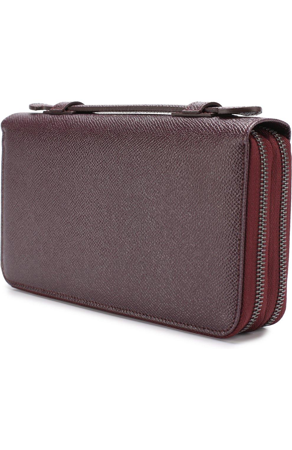 Кожаный футляр для документов Dolce & Gabbana бордового цвета | Фото №2