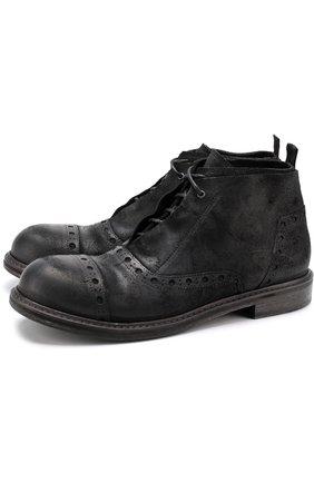 Кожаные ботинки с брогированием на шнуровке