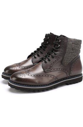 Кожаные ботинки с текстильной отделкой на шнуровке