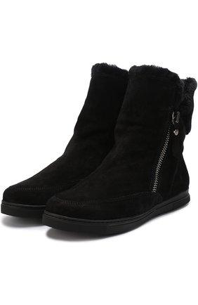 Замшевые ботинки Furgie с молнией Stuart Weitzman черные | Фото №1