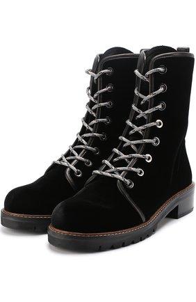 Бархатные ботинки Metermaid на шнуровке Stuart Weitzman черные | Фото №1