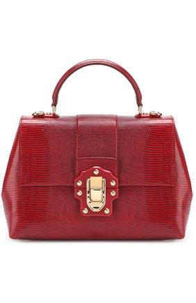 Сумка Lucia из тисненой кожи Dolce & Gabbana бордовая цвета | Фото №1