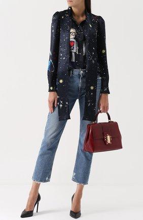 Сумка Lucia из тисненой кожи Dolce & Gabbana бордовая цвета | Фото №2