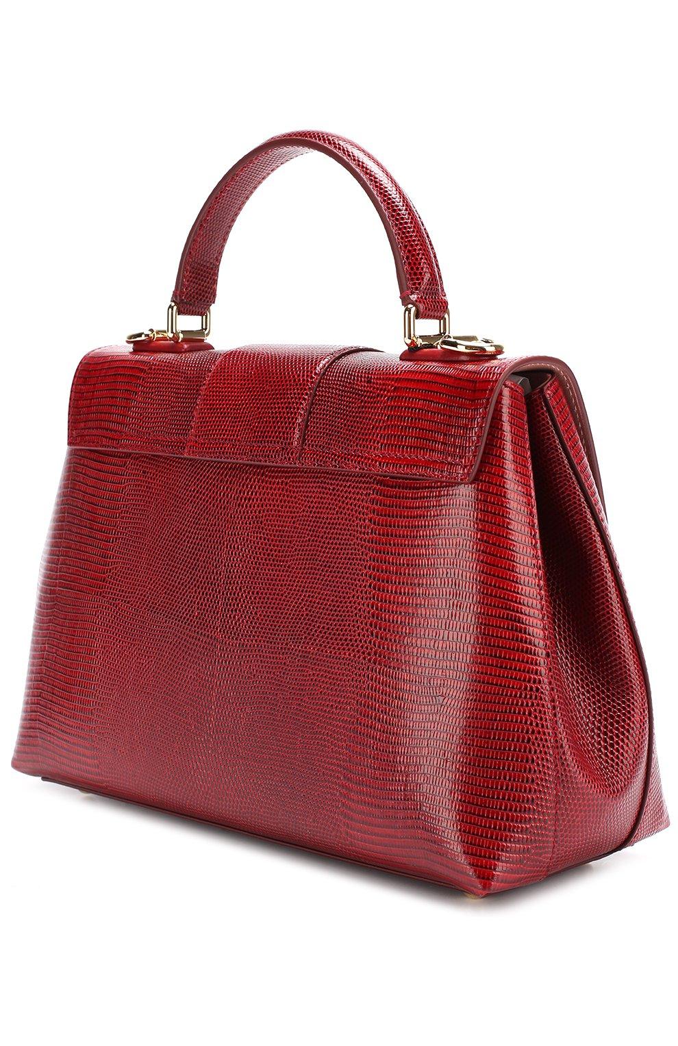 Сумка Lucia из тисненой кожи Dolce & Gabbana бордовая цвета | Фото №3