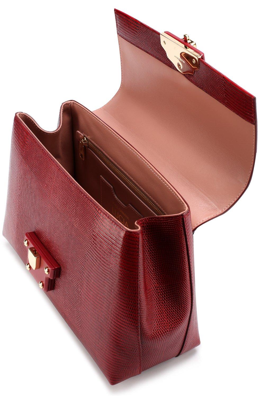 Сумка Lucia из тисненой кожи Dolce & Gabbana бордовая цвета | Фото №4