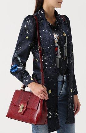 Сумка Lucia из тисненой кожи Dolce & Gabbana бордовая цвета | Фото №5