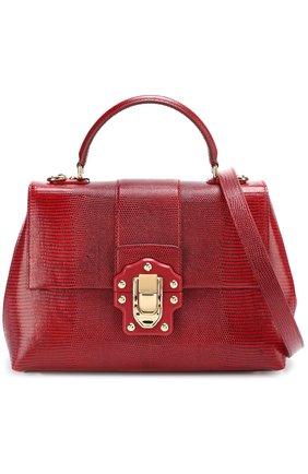 Сумка Lucia из тисненой кожи Dolce & Gabbana бордовая цвета | Фото №6