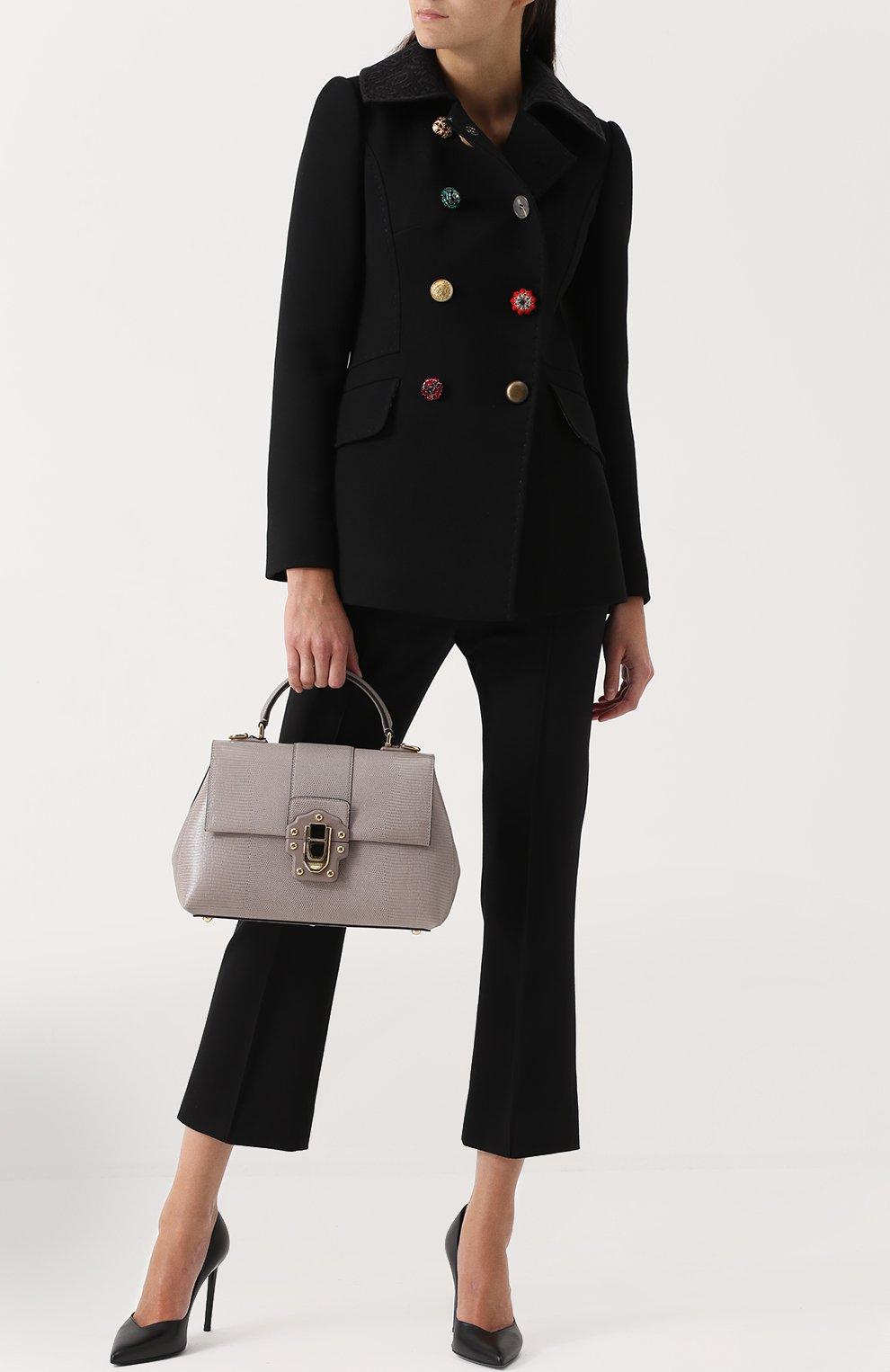 Сумка Lucia из тисненой кожи Dolce & Gabbana серая цвета | Фото №2