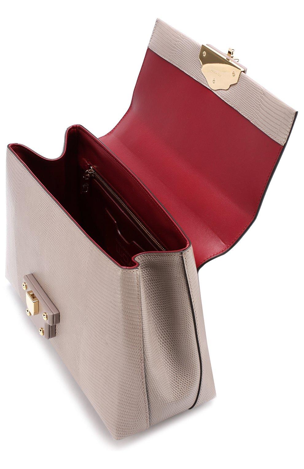 Сумка Lucia из тисненой кожи Dolce & Gabbana серая цвета | Фото №4