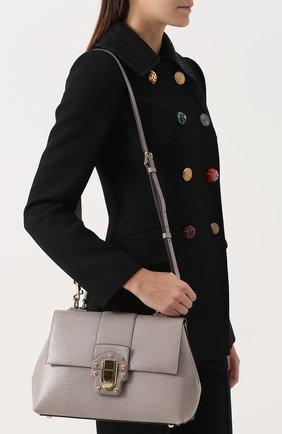 Сумка Lucia из тисненой кожи Dolce & Gabbana серая цвета | Фото №5