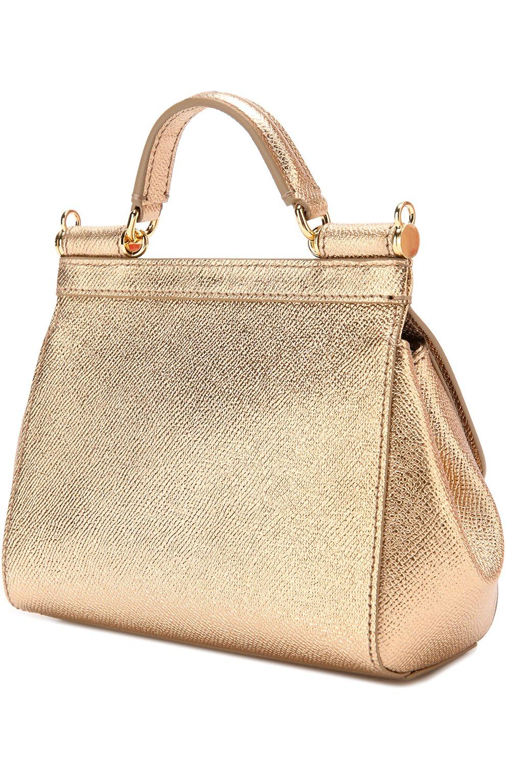 Сумка Sicily micro с брошью Dolce & Gabbana золотая цвета   Фото №3