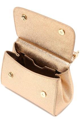 Сумка Sicily micro с брошью Dolce & Gabbana золотая цвета   Фото №4
