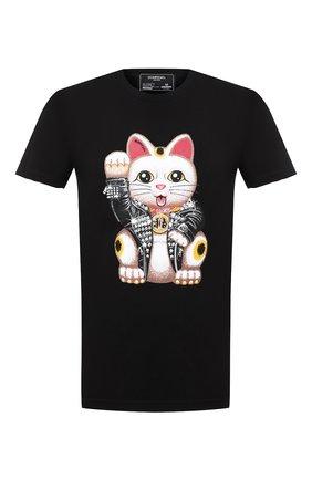 Мужская хлопковая футболка DOM REBEL черного цвета, арт. LUCKY/T-SHIRT   Фото 1