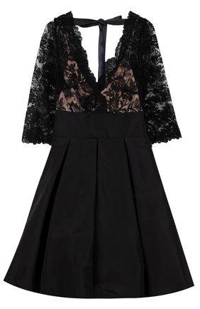 Шелковое мини-платье с кружевным лифом   Фото №1