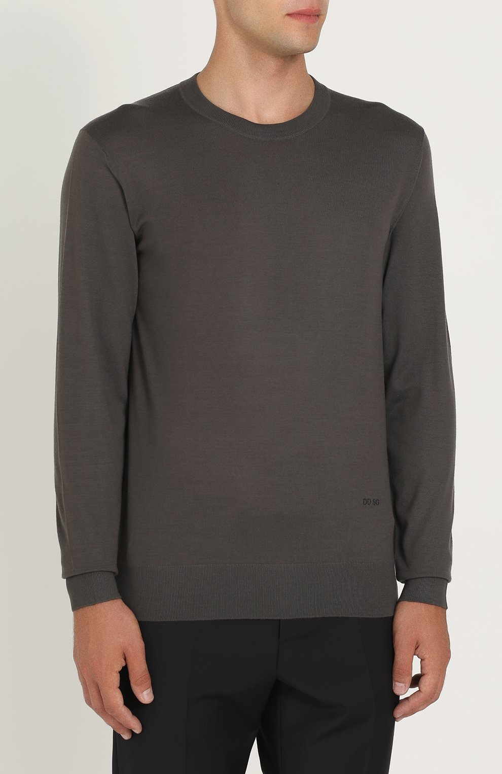 Джемпер из шерсти тонкой вязки Dolce & Gabbana темно-серый | Фото №3