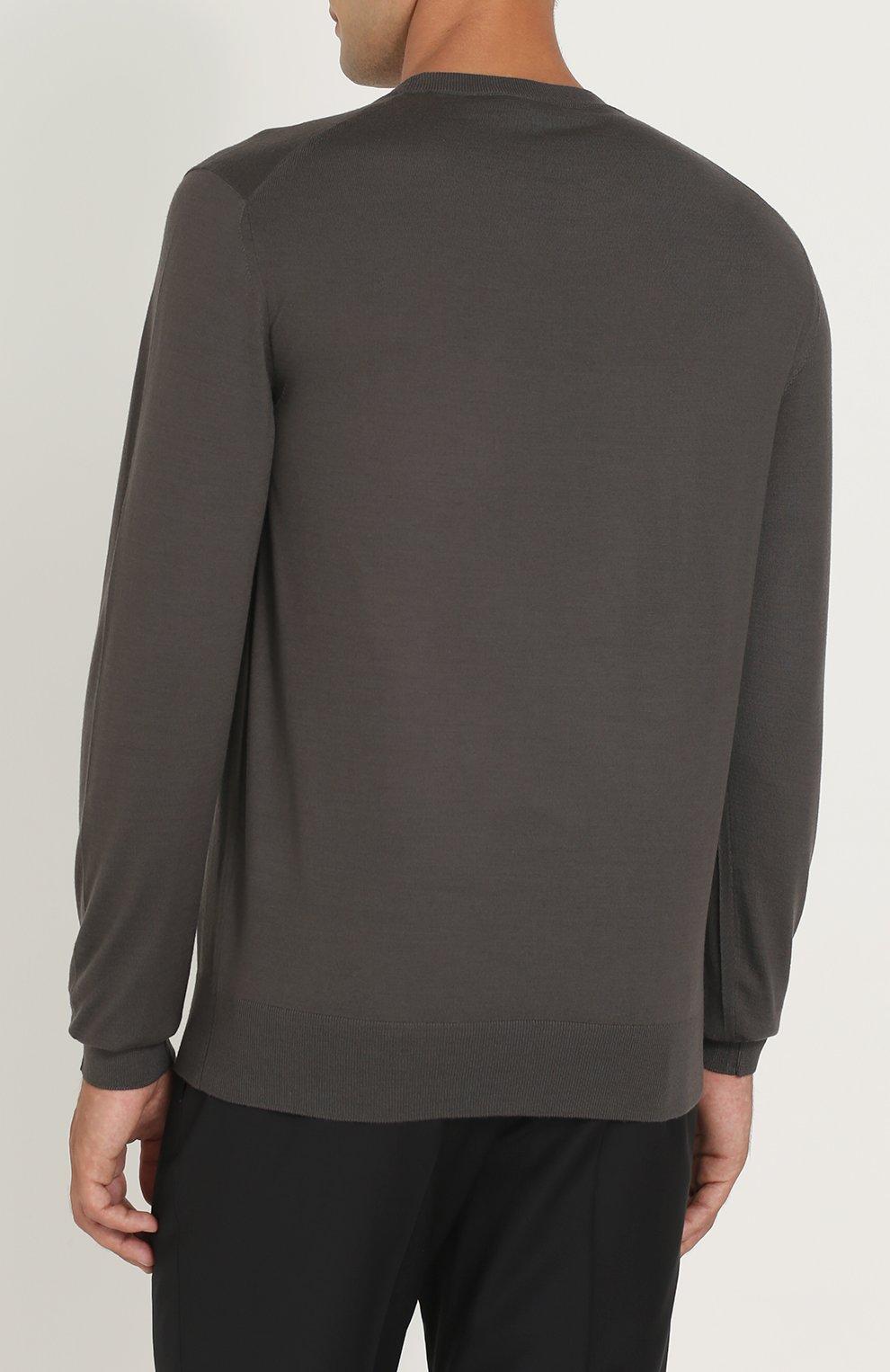 Джемпер из шерсти тонкой вязки Dolce & Gabbana темно-серый | Фото №4
