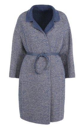 Женское шерстяное пальто с поясом LORO PIANA синего цвета, арт. FAG3273 | Фото 1