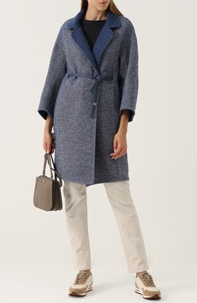 Женское шерстяное пальто с поясом LORO PIANA синего цвета, арт. FAG3273 | Фото 2