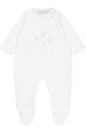 Детский хлопковый комбинезон с оборками и вышивкой TARTINE ET CHOCOLAT белого цвета, арт. TK54011 | Фото 1