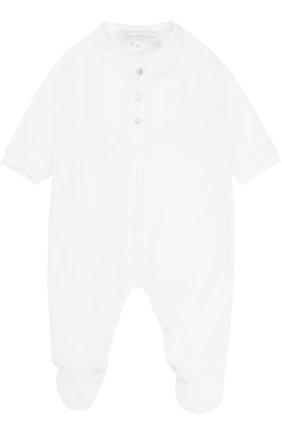 Детский хлопковый комбинезон со вставкой из полиэстера TARTINE ET CHOCOLAT белого цвета, арт. TK54081 | Фото 1