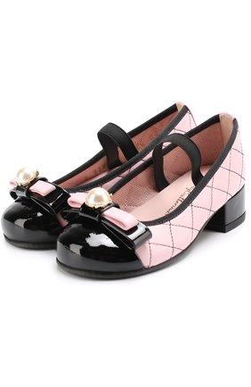 Детские кожаные туфли с лаковым мысом и декоративным бантом PRETTY BALLERINAS розового цвета, арт. 46.419-R/9.033/SHADE/C0T0N | Фото 1