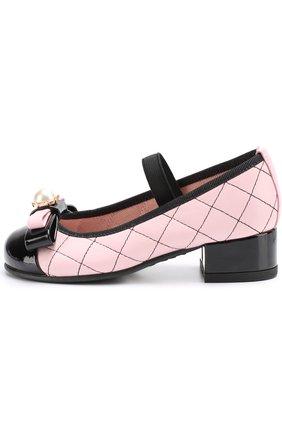 Детские кожаные туфли с лаковым мысом и декоративным бантом PRETTY BALLERINAS розового цвета, арт. 46.419-R/9.033/SHADE/C0T0N | Фото 2