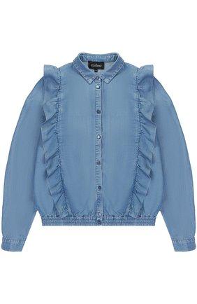 Блуза с эластичной вставкой на поясе и оборками | Фото №1
