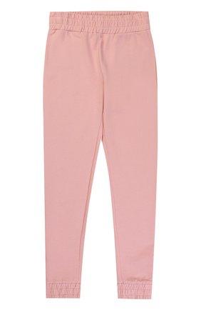 Детского спортивные брюки из хлопка с контрастными молниями STELLA MCCARTNEY розового цвета, арт. 471695/SJJ41   Фото 1