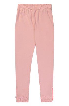 Детского спортивные брюки из хлопка с контрастными молниями STELLA MCCARTNEY розового цвета, арт. 471695/SJJ41   Фото 2