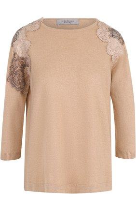 Вязаный пуловер с укороченным рукавом D.Exterior розовый | Фото №1