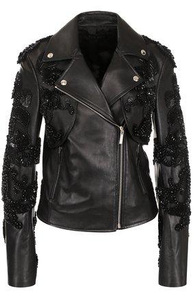 Кожаная куртка с косой молнией и декоративной отделкой | Фото №1