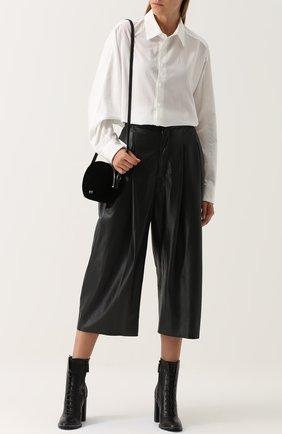 Кожаные укороченные брюки с защипами Natasha Zinko черные   Фото №1