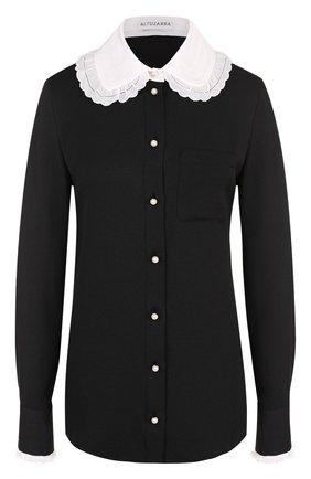 Женская шелковая блуза с контрастным воротником Altuzarra, цвет черный, арт. 417-408-634 в ЦУМ   Фото №1