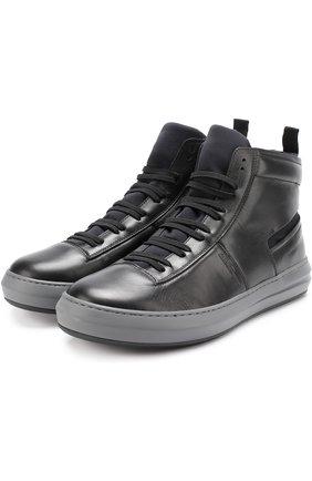 Высокие кожаные кеды на шнуровке
