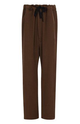 Хлопковые брюки свободного кроя с заниженной линией шага Ann Demeulemeester коричневые | Фото №1