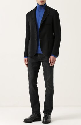 Джемпер из шерсти фактурной вязки с воротником на молнии Fabrizio Del Carlo темно-синий | Фото №1