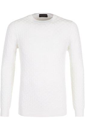 Шерстяной джемпер фактурной вязки Fabrizio Del Carlo белый | Фото №1