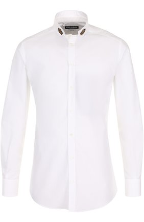 Хлопковая сорочка с воротником-стойкой Dolce & Gabbana белая | Фото №1