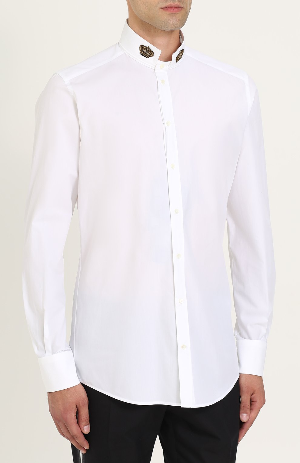Хлопковая сорочка с воротником-стойкой Dolce & Gabbana белая | Фото №3