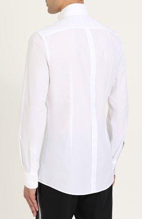 Хлопковая сорочка с воротником-стойкой Dolce & Gabbana белая | Фото №4