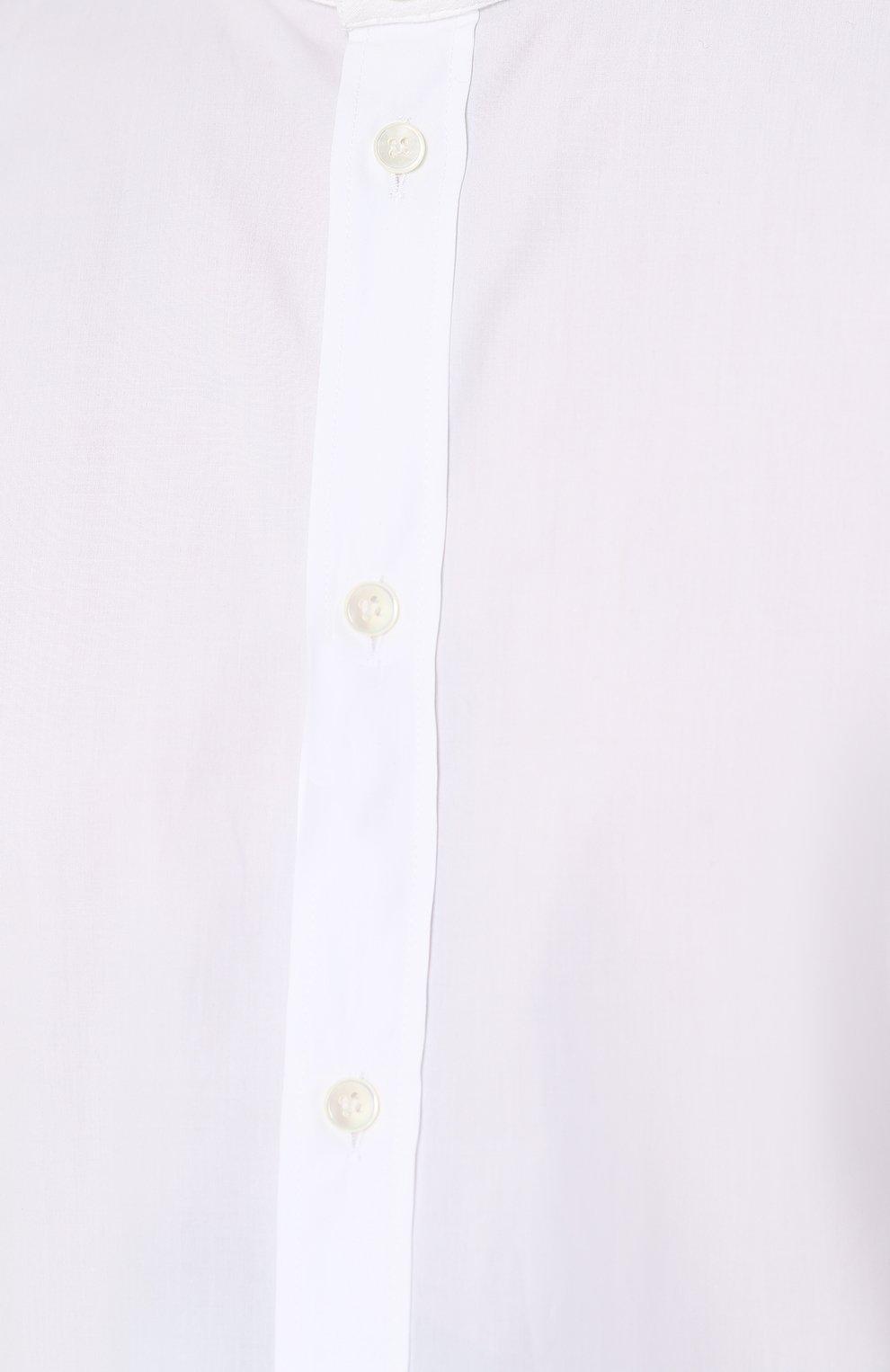 Хлопковая сорочка с воротником-стойкой Dolce & Gabbana белая | Фото №5