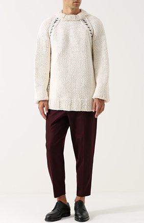 Шерстяной вязаный свитер свободного кроя | Фото №2