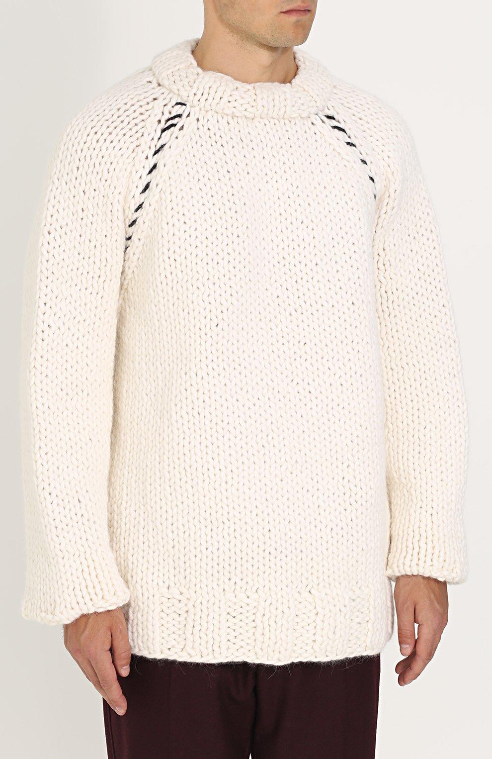 Шерстяной вязаный свитер свободного кроя | Фото №3