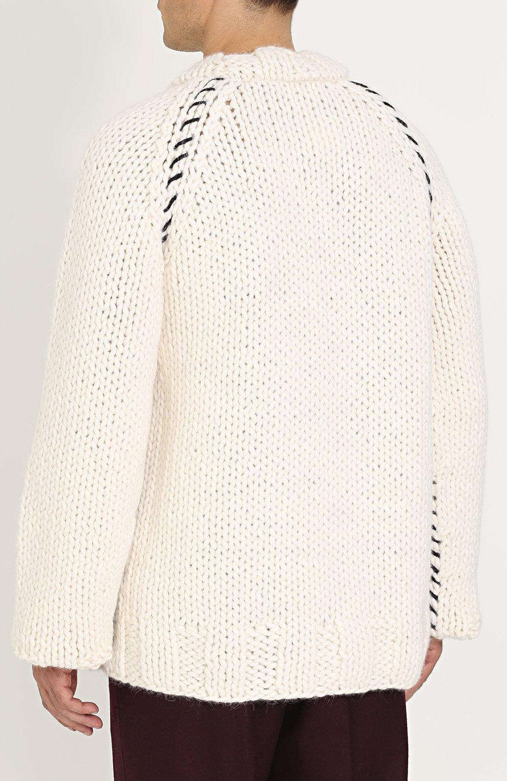 Шерстяной вязаный свитер свободного кроя | Фото №4